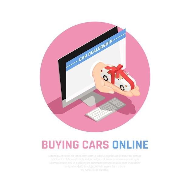 Conceito de concessionária de carros com a compra de carros on-line símbolos isométricos Vetor grátis