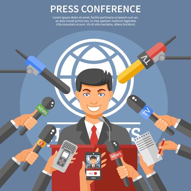 Conceito de conferência de imprensa Vetor grátis