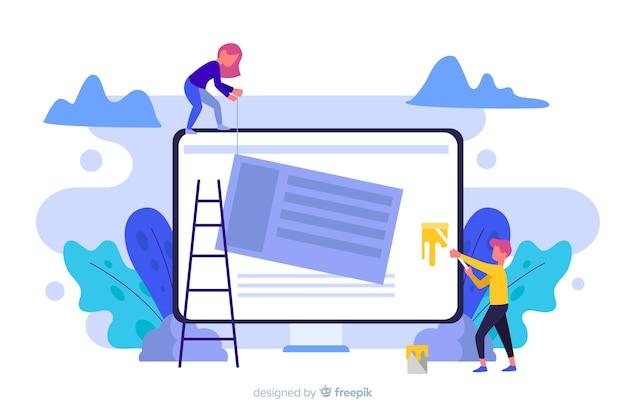 Conceito de configuração do site para a página de destino Vetor grátis