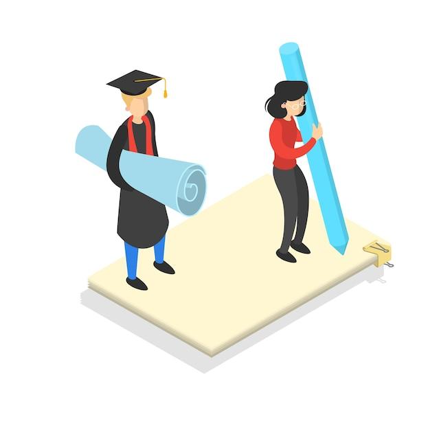 Conceito de conhecimento e educação. aprendizagem online na universidade Vetor Premium