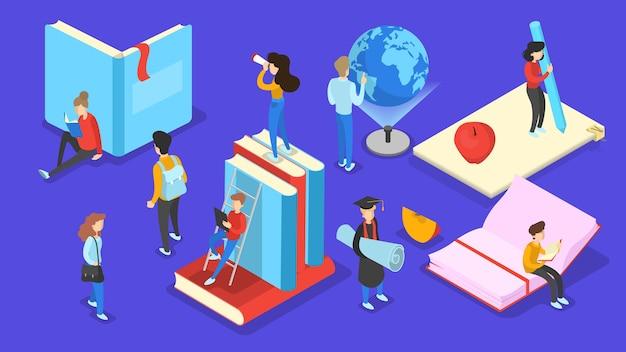 Conceito de conhecimento e educação. pessoas aprendendo online na universidade. ciência e brainstorming. ilustração isométrica vetorial isolada Vetor Premium