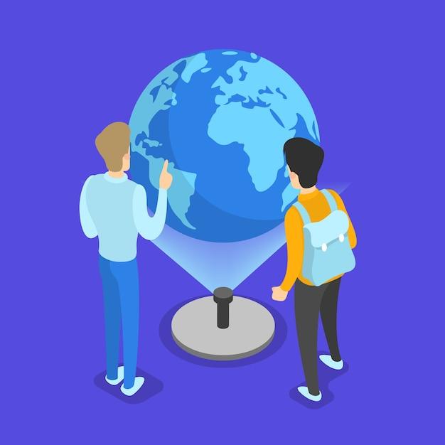Conceito de conhecimento e educação. pessoas aprendendo online Vetor Premium