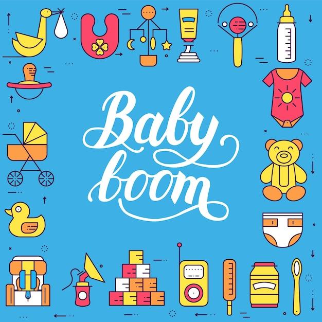 Conceito de conjunto de ícones plana de elementos de semana e crianças do mundo. ilustrações infantis. Vetor Premium