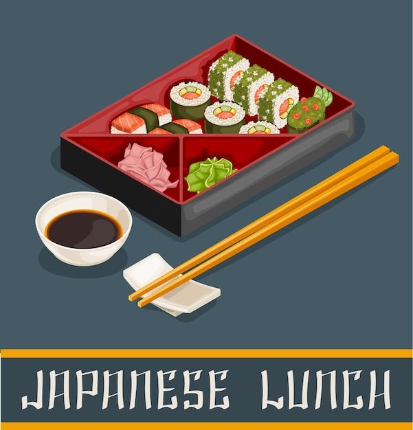 Conceito de conjunto de sushi japonês Vetor Premium