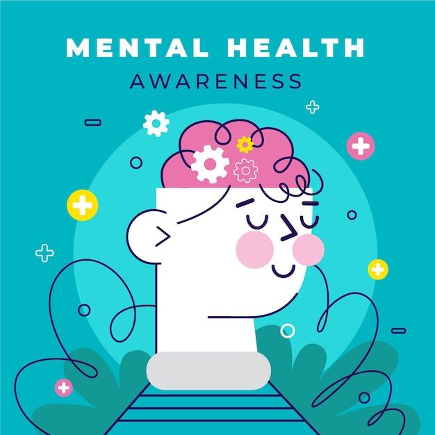 Conceito de conscientização de saúde mental Vetor grátis
