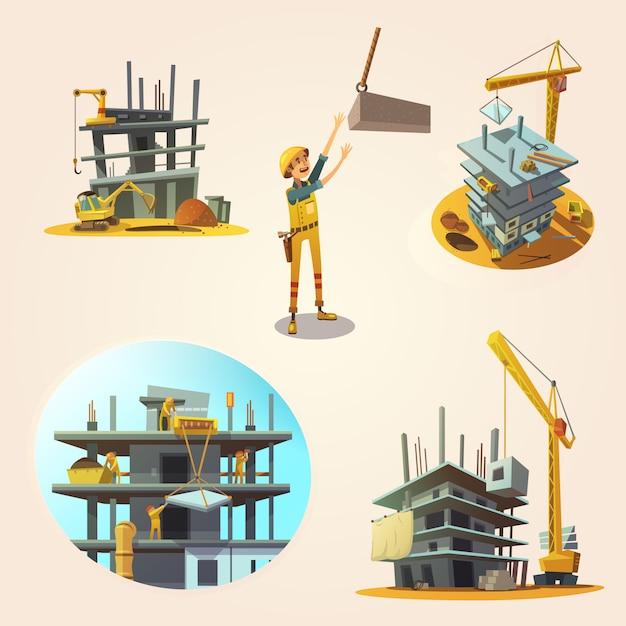 Conceito de construção definida com ícones de retrô dos desenhos animados do processo de construção Vetor grátis
