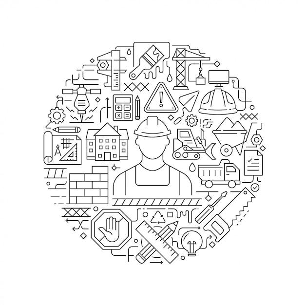 Conceito de construção em ilustração plana fina Vetor Premium