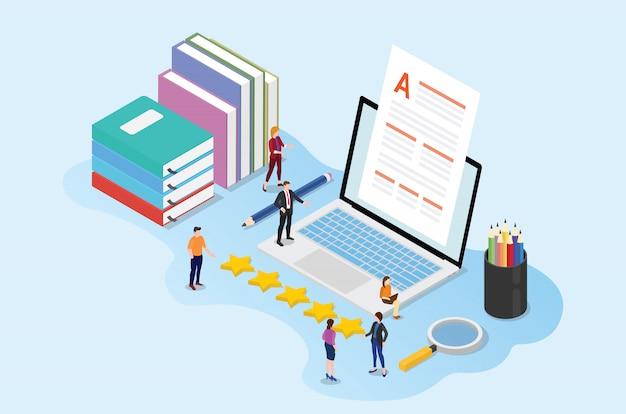 Conceito de conteúdo de alta qualidade com editor de pessoas de equipe com documentos em papel e livros de laptop Vetor Premium
