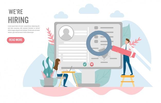 Conceito de contratação e recrutamento em design plano Vetor Premium