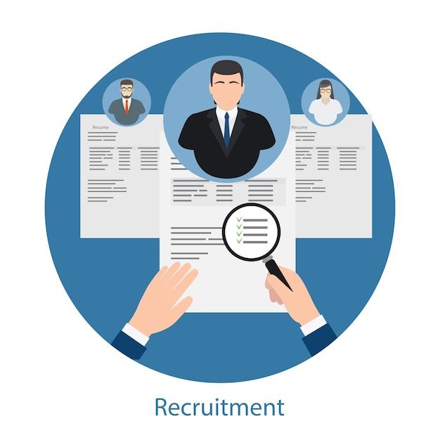 Conceito de contratação e recursos humanos Vetor Premium