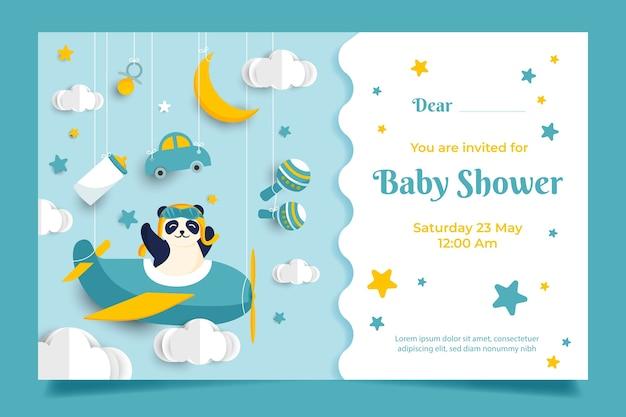 Conceito de convite de chuveiro de bebê Vetor Premium
