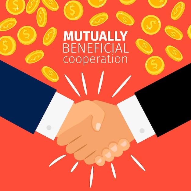 Conceito de cooperação empresários apertando as mãos sob a chuva de moedas de ouro Vetor Premium