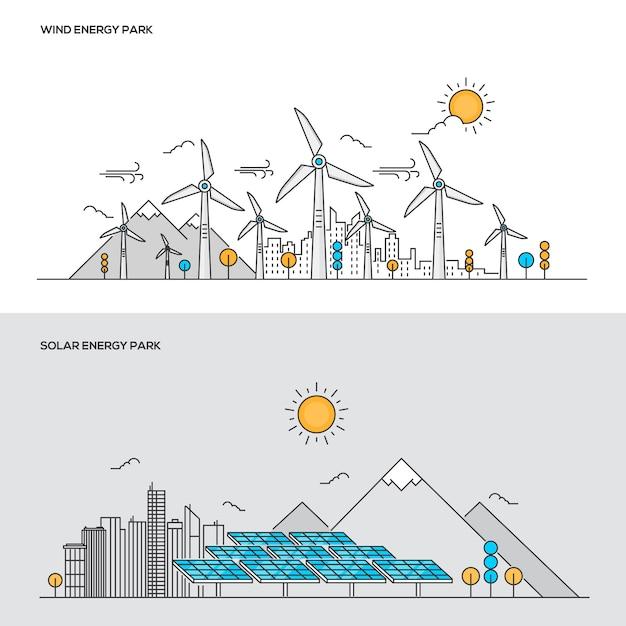 Conceito de cor de linha - parque de energia eólica e solar Vetor Premium