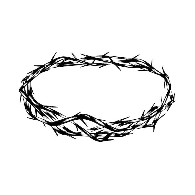 Conceito de coroa de espinhos desenhado à mão Vetor grátis