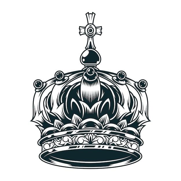 Conceito de coroa real ornamentado vintage Vetor grátis