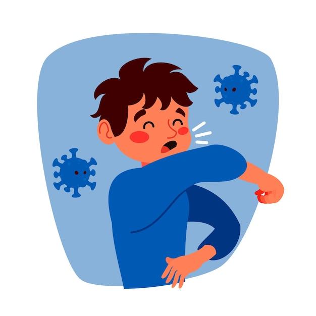 Conceito de coronavírus tosse homem Vetor grátis