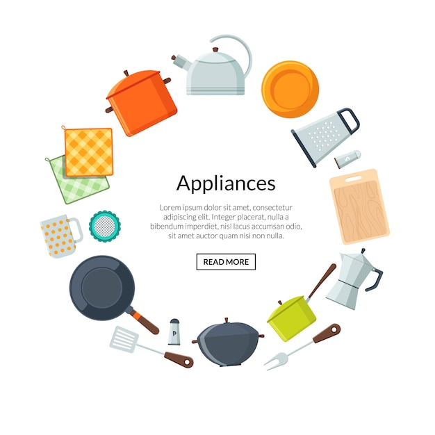 Conceito de cozinha e cozinha. quadro de utensílios de cozinha de vetor arredondado com modelo de texto Vetor Premium