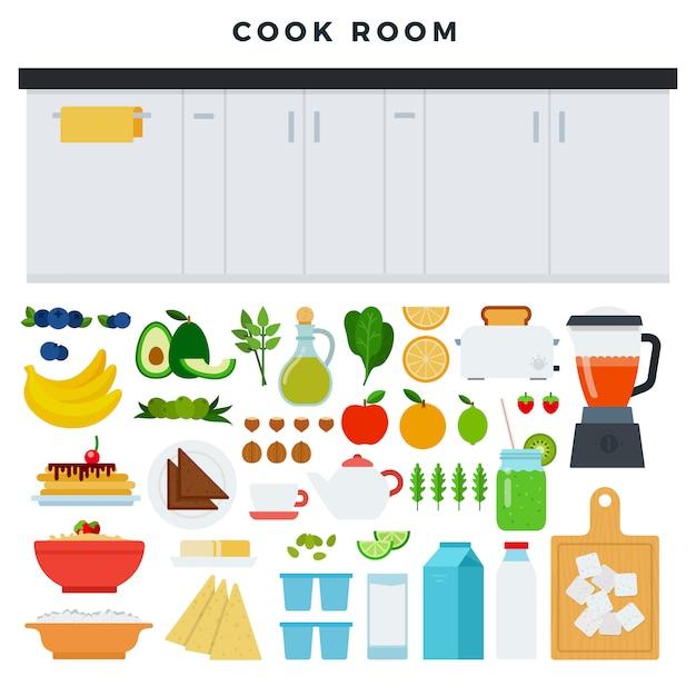 Conceito de cozinha moderna. área de trabalho da cozinha, alguns alimentos e utensílios para cozinhar Vetor Premium