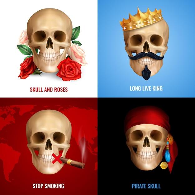 Conceito de crânio humano 2x2 com conjunto de composições realistas usando a imagem do crânio como marca de perigo ou humor Vetor grátis