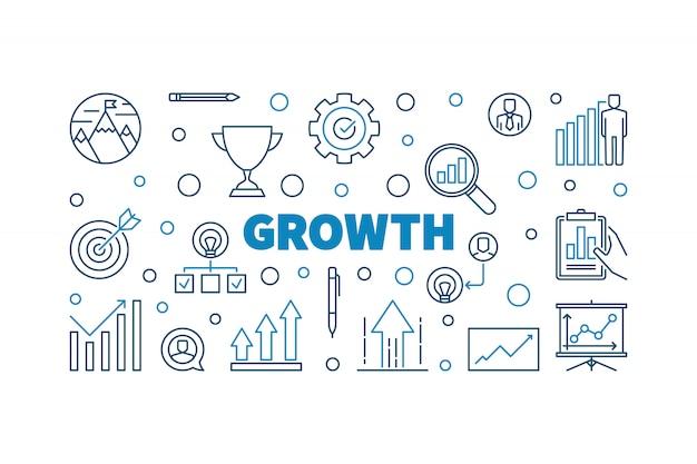 Conceito de crescimento criativo contorno icon ilustração ou banner Vetor Premium
