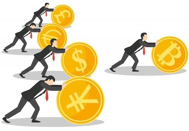Conceito de crescimento de bitcoin Vetor Premium