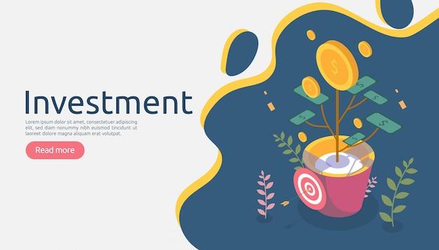 Conceito de crescimento de gestão de negócios. retorna em investimento com planta de moeda de dinheiro Vetor Premium