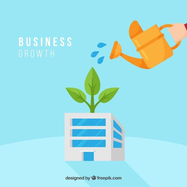 Conceito de crescimento de negócios com regador Vetor grátis