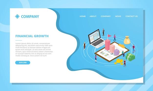 Conceito de crescimento financeiro para modelo de site ou design de página inicial com ilustração vetorial de estilo isométrico Vetor grátis
