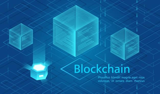Conceito de criptomoeda e blockchain, centro alimentado por dados, ilustração isométrica de armazenamento de dados em nuvem. Vetor Premium