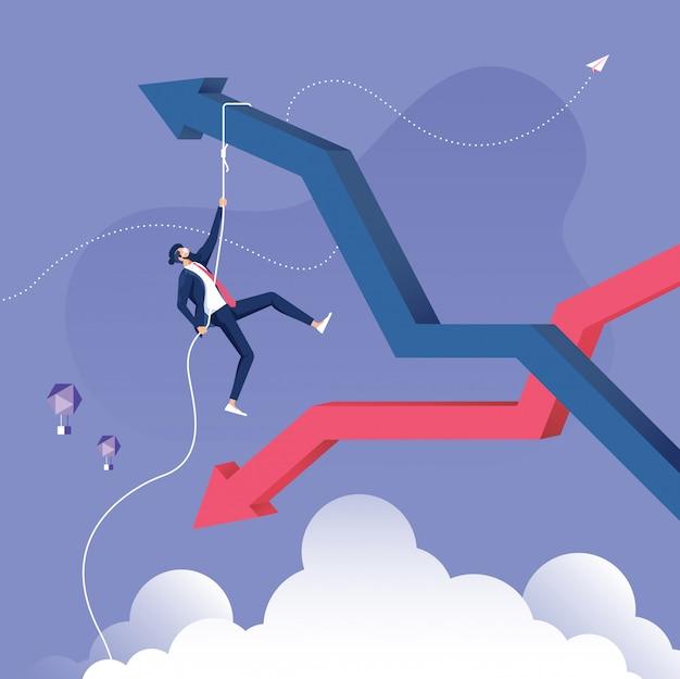 Conceito de crise e recuperação de negócios Vetor Premium