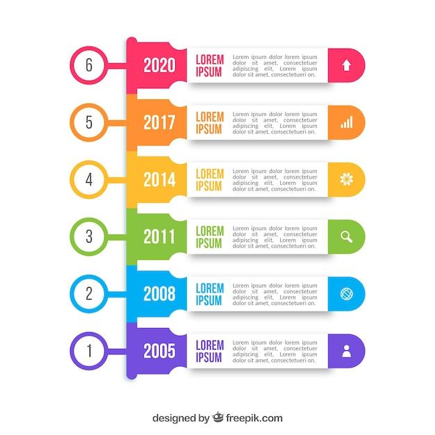 Conceito de cronograma colorido infográfico Vetor grátis