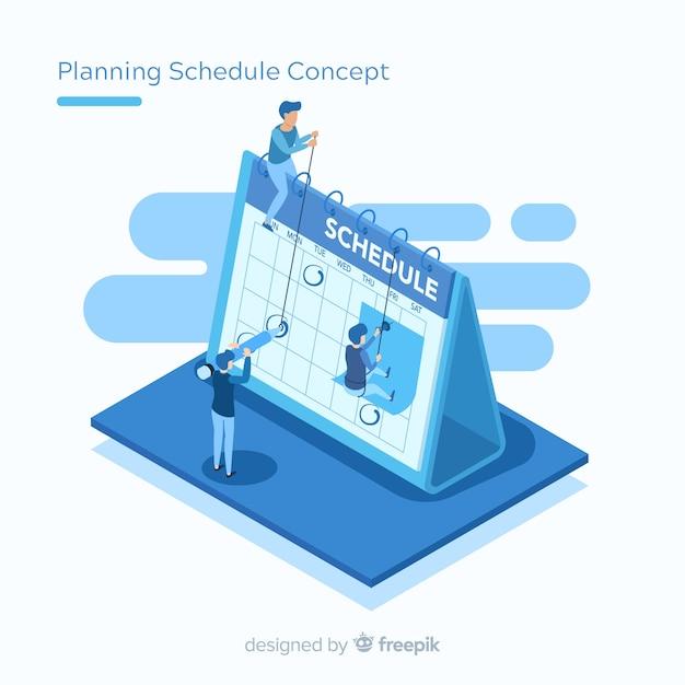 Conceito de cronograma de planejamento com perspectiva isométrica Vetor grátis