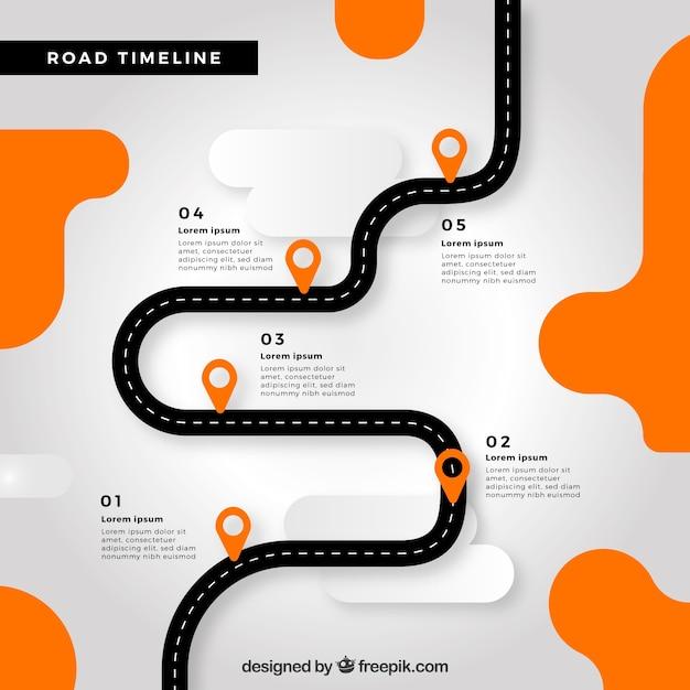 Conceito de cronograma infográfico com estrada Vetor grátis