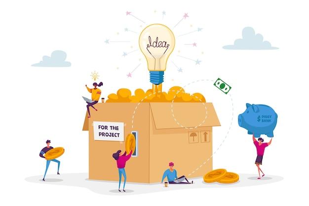 Conceito de crowdfunding. pessoas minúsculas inserem moedas de ouro em uma caixa de papelão enorme com uma lâmpada incandescente. Vetor Premium