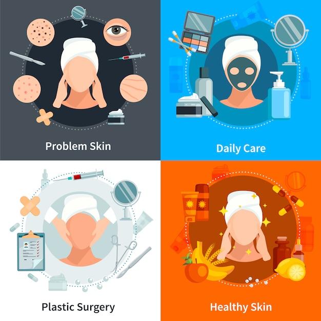 Conceito de cuidados da pele plana definida com cuidado de pele diariamente e composição de design de cirurgia plástica ilustração vetorial de composições Vetor grátis