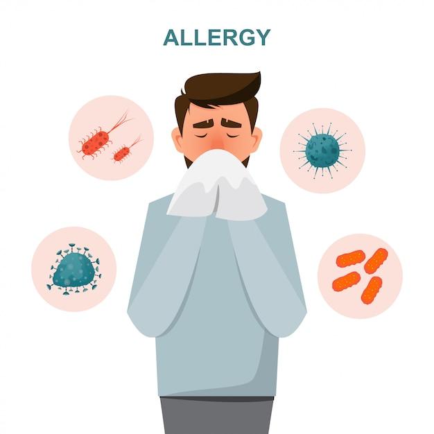 Conceito de cuidados de sa o homem fica com sintomas de alergia Vetor Premium