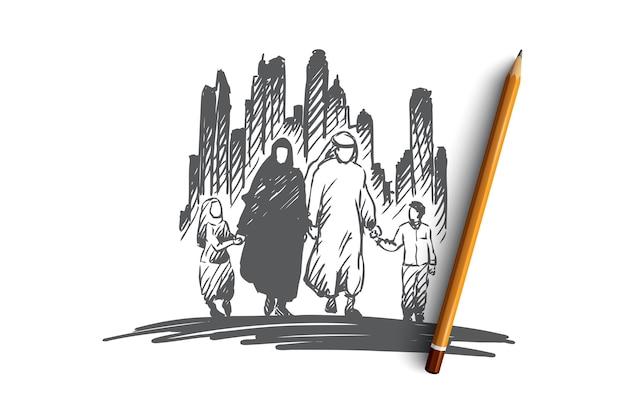 Conceito de cultura árabe, familiar, muçulmana. mão-extraídas família árabe traditonal com esboço do conceito de crianças. Vetor Premium