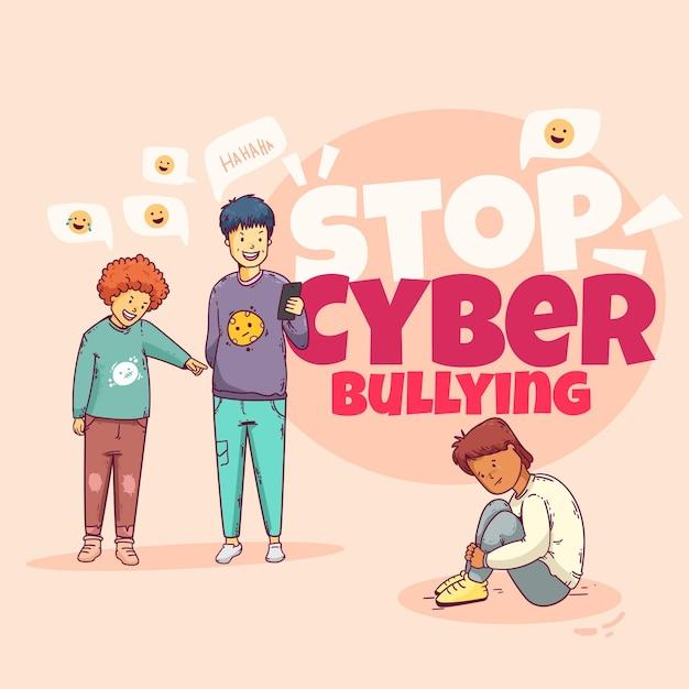Conceito de cyber bullying Vetor grátis