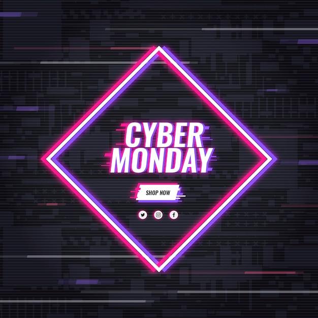 Conceito de cyber segunda-feira com efeito de falha Vetor grátis