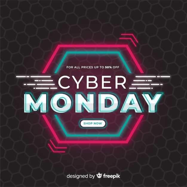 Conceito de cyber segunda-feira em design plano Vetor grátis