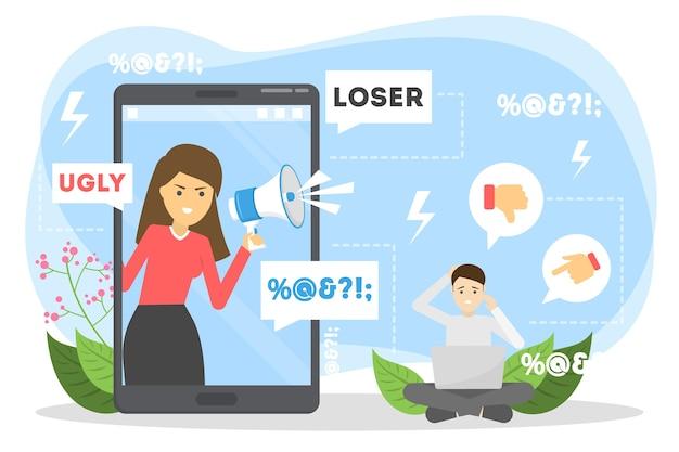Conceito de cyberbullying. ideia de assédio na internet Vetor Premium