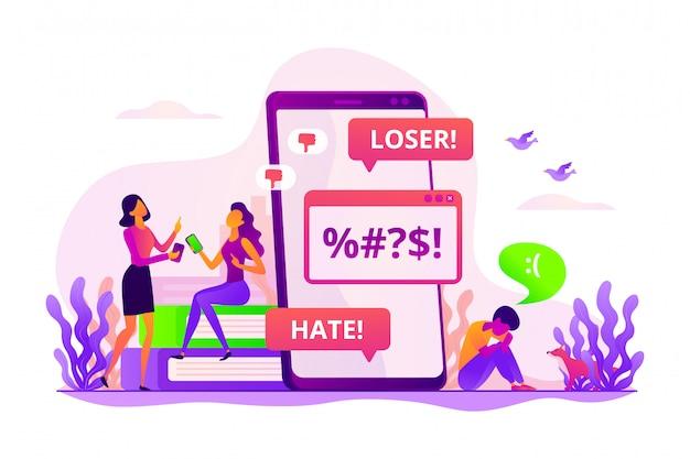 Conceito de cyberbullying. Vetor Premium