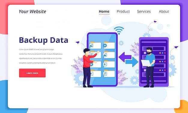 Conceito de dados de backup, pessoas copiando arquivos ou processo de transferência de arquivos em um smartphone gigante. modelo de design da página de destino Vetor Premium