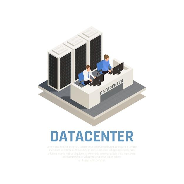 Conceito de data center com símbolos de software e hardware de conexão isométricos Vetor grátis