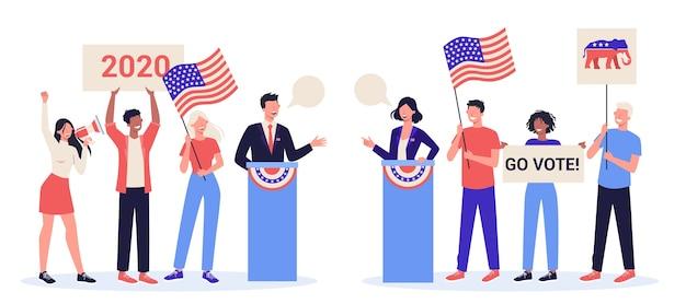 Conceito de debate. candidato a presidente na tribuna. discurso político. eleição presidencial. conceito de discurso eleitoral. carreira na política. Vetor Premium