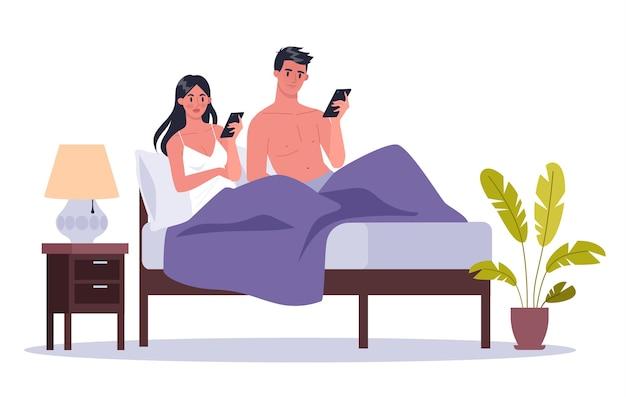 Conceito de dependência de smartphone. jovem casal deitado em uma cama juntos, navegando na internet. mulher e homem viciado em telefone em casa. ilustração Vetor Premium