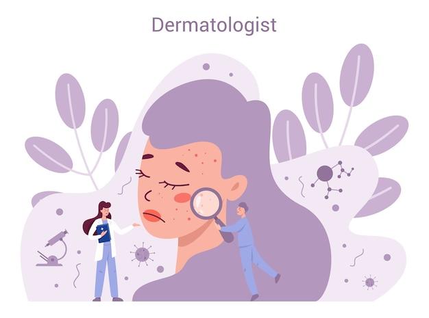 Conceito de dermatologista. especialista em dermatologia, tratamento de pele facial. ideia de beleza e saúde. esquema de epiderme cutânea. Vetor Premium