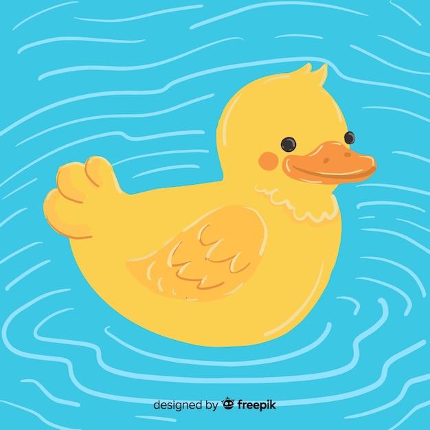 Conceito de desenho animado com pato de borracha amarelo Vetor grátis