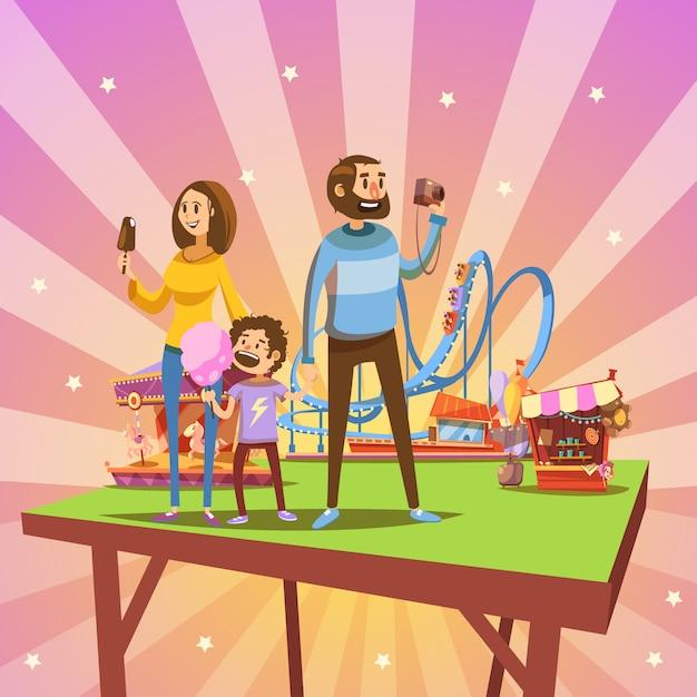 Conceito de desenho animado do parque de diversões com família feliz e atrações no fundo retrô Vetor grátis