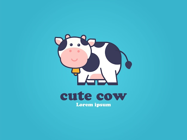 Conceito de desenho de logotipo de vaca fofa Vetor Premium